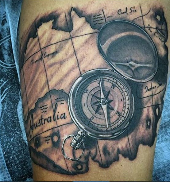 Mens Shaded Compass With Map Of Australia Travel Tattoo On Bicep