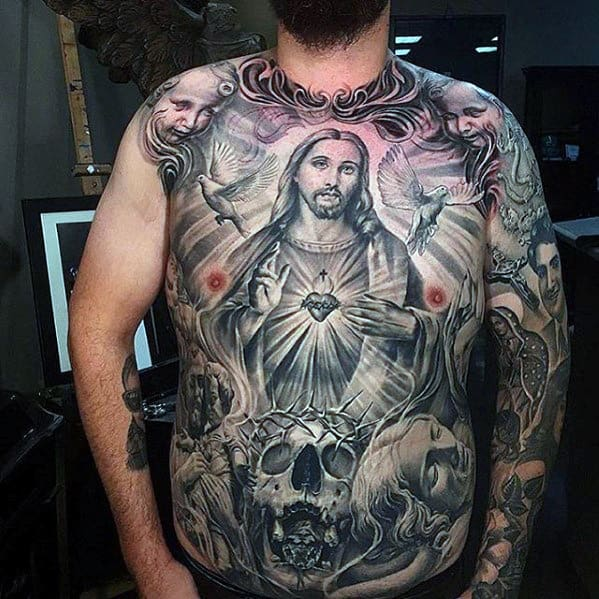 Mens Shaded Different Chicano Jesus Themed Full Chest Tattoo