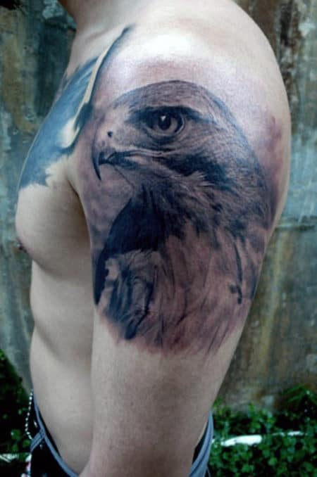 Mens Shaded Falcon Upper Arm Male Tattoo Design Ideas