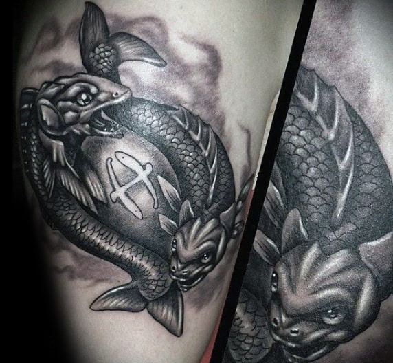 Mens Shaded Fish Pisces Arm Tattoo Designs