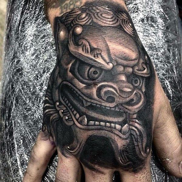 Mens Shaded Foo Dog Hand Tattoo