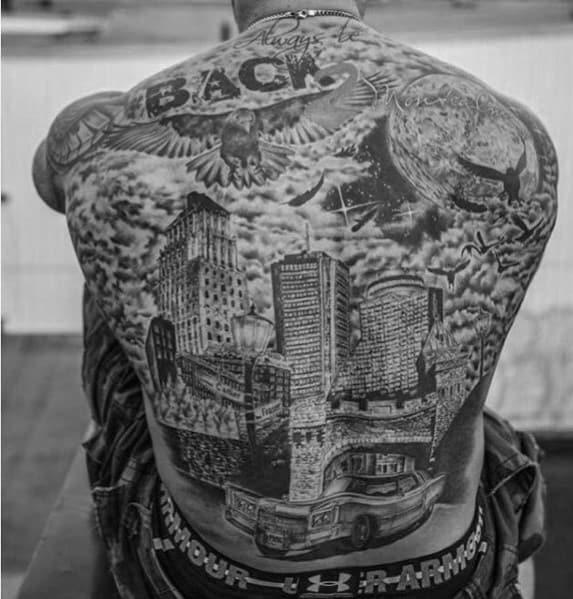 Mens Shaded Full Back Skyline Tattoo Designs