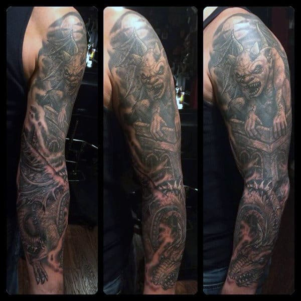 Mens Shaded Gargoyle Tattoo Full Sleeve