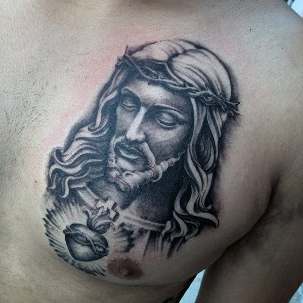 Mens Shaded Jesus With Heart Catholic Mens Upper Chest Tattoo