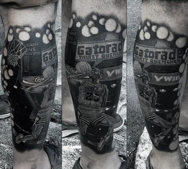 Mens Shaded Michael Jordan Guys Leg Sleeve Tattoo