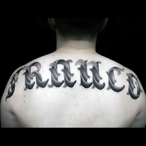 Mens Shaded Ornate Last Name Upper Back Tattoo Designs