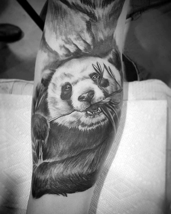 Mens Shaded Panda Bear With Black And Grey Ink Tattoo On Arm