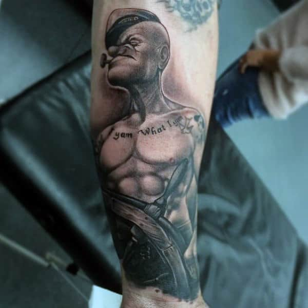 Mens Shaded Popeye Inner Forearm Tattoo Design Ideas