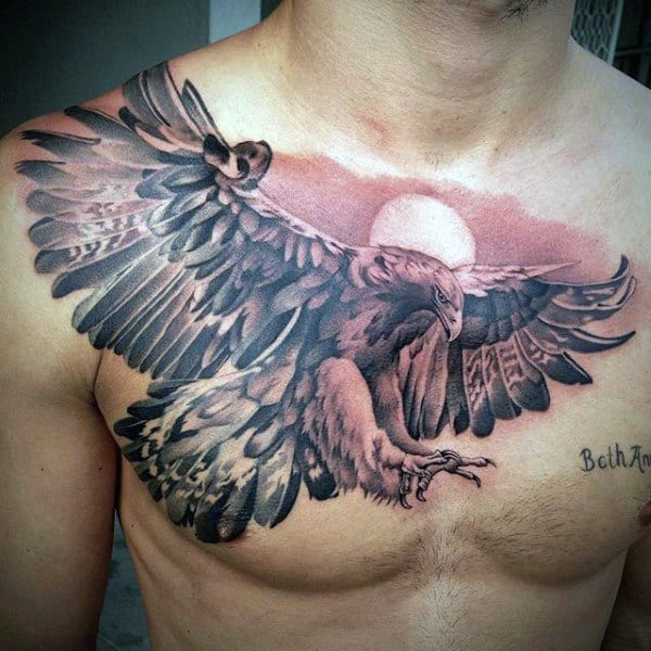 Mens Shaded Realistic Eagle Flying Chest Tattoo