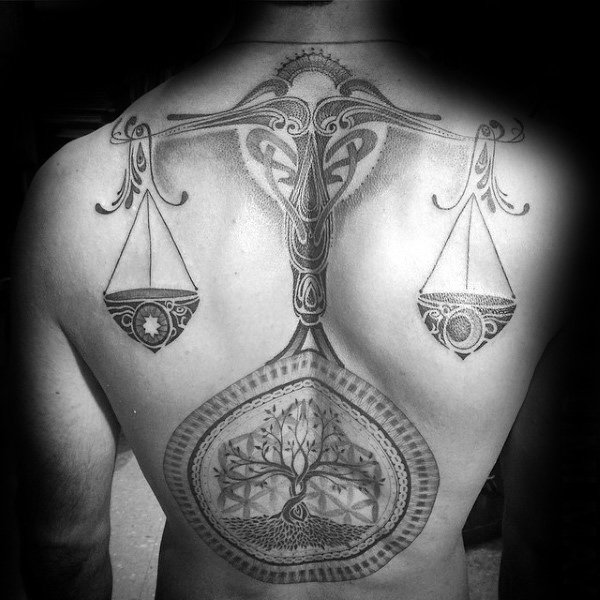 Mens Shaded Tree Of Life Libra Back Tattoos