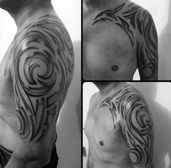 Mens Shaded Tribal Half Sleeve Tattoo With Black And Grey Design