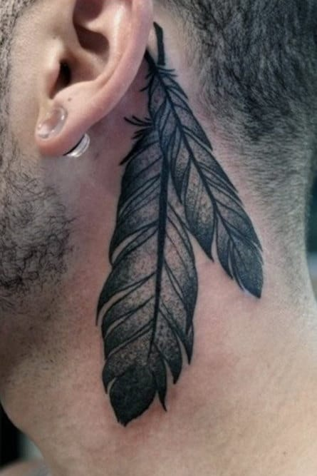 Mens Shaded Two Feather Tattoo Behind Ear