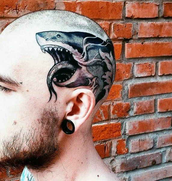 Mens Shark Dotwork Head Tattoos