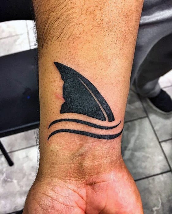 Mens Shark Fin Wrist Tattoo Designs