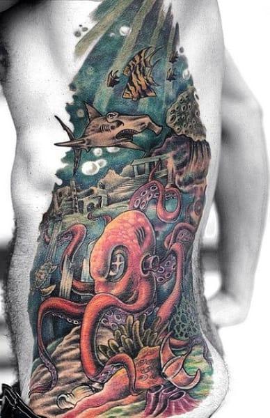 Men's Shark Tattoos On Ribs