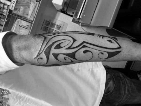 Mens Shark Tribal Outer Forearm Tattoo