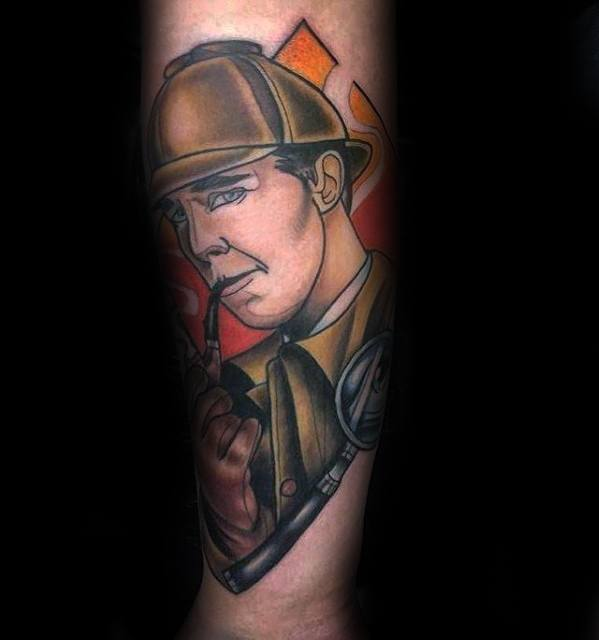 Mens Sherlock Holmes Tattoo Design Ideas On Inner Forearm