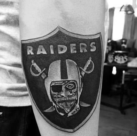 Mens Shield Oakland Raiders Outer Forearm Tattoos