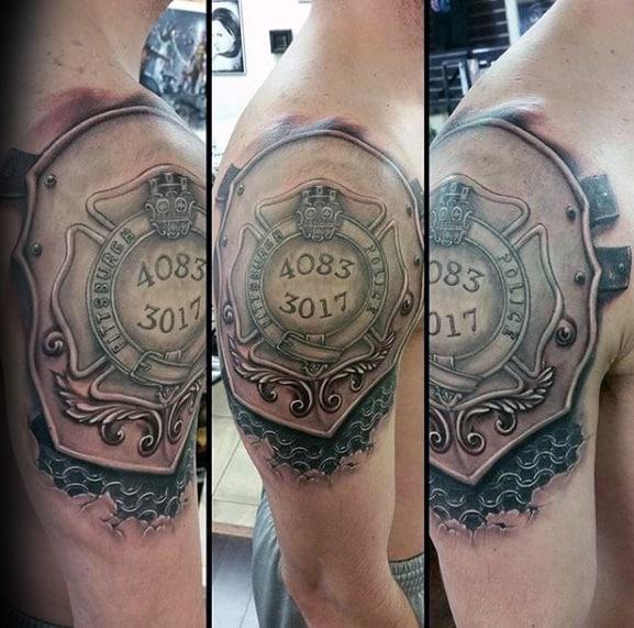 Mens Shield Police 3d Upper Arm Tattoos