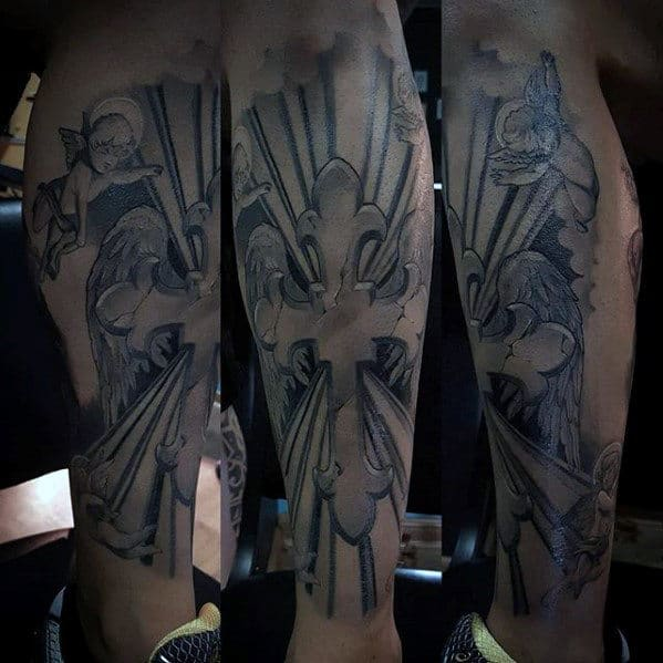 Mens Shin And Leg Badass Cross 3d Tattoo
