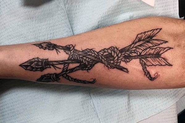 Mens Shin Traditional Arrows With Rope Tattoo Design Ideas