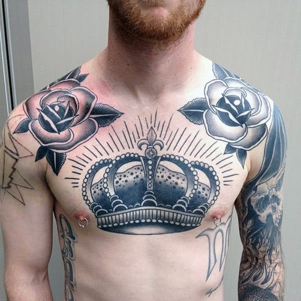 Mens Shining Jewel Crown Tattoo With Flowers On Chest