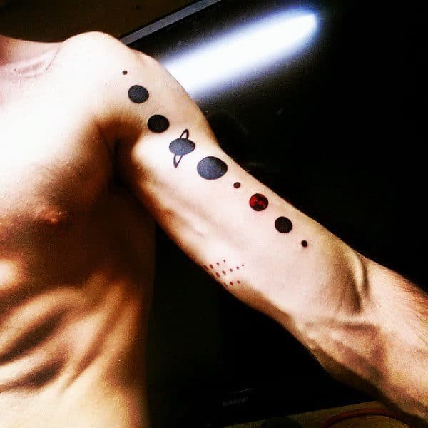 Mens Shiny Planets On Arms Tattoo