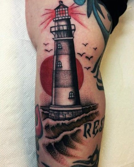 Mens Ship And Lighthouse Tattoo