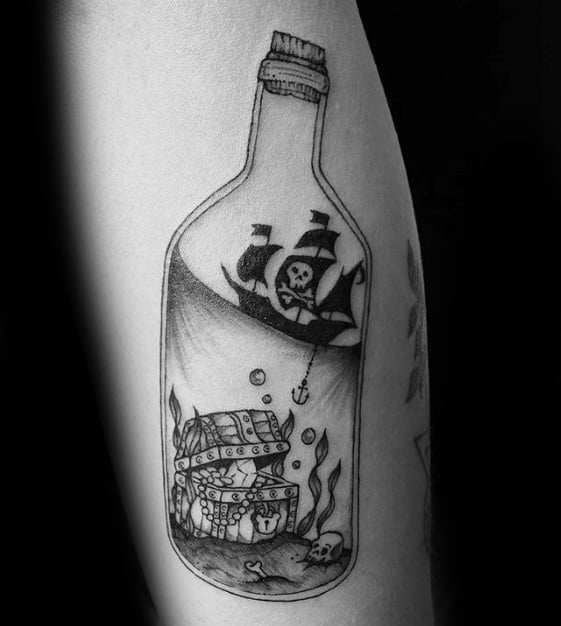Mens Ship In A Bottle Pirate Flag Arm Tattoo