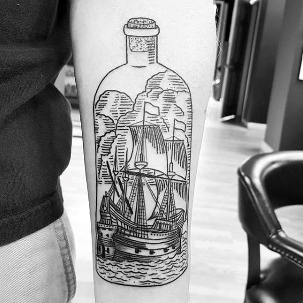 Mens Ship In A Bottle Woodcut Design On Arm