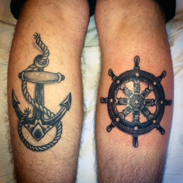 Mens Ship Wheel And Anchor Tattoo On Legs