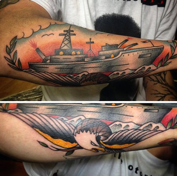 Mens Ship With Bald Eagle Old School Navy Tattoos On Outer Forearm