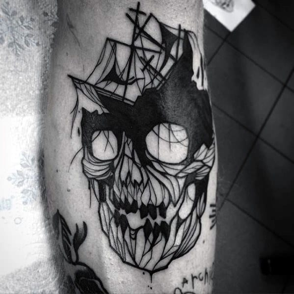 Mens Shipwreck Skull Black Ink Tattoo Ideas