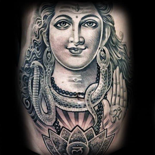 mens shiva 3d tattoo design ideas