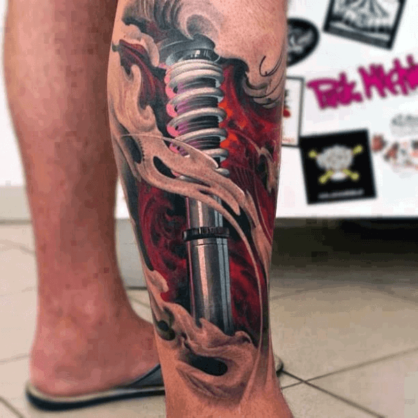 Mens Shock 3d Optical Illusion Leg Tattoo With Ripped Skin