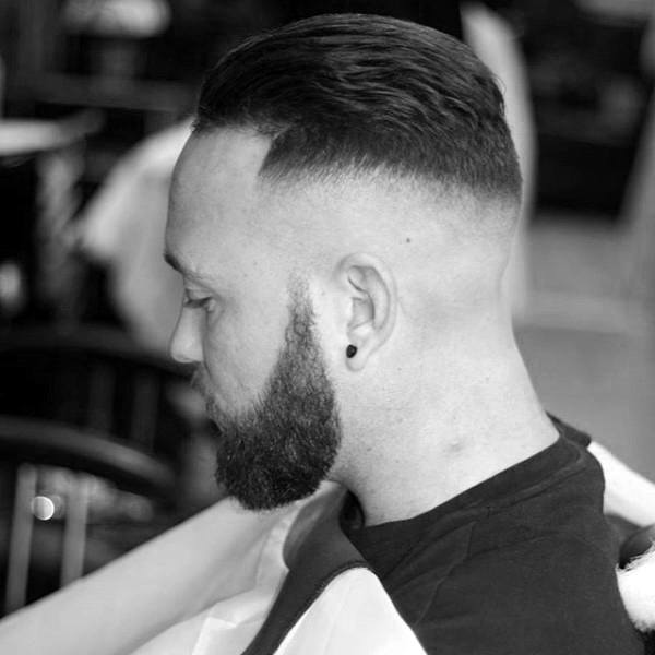 Mens Short Length Skin Fade Hairstyle With Beard