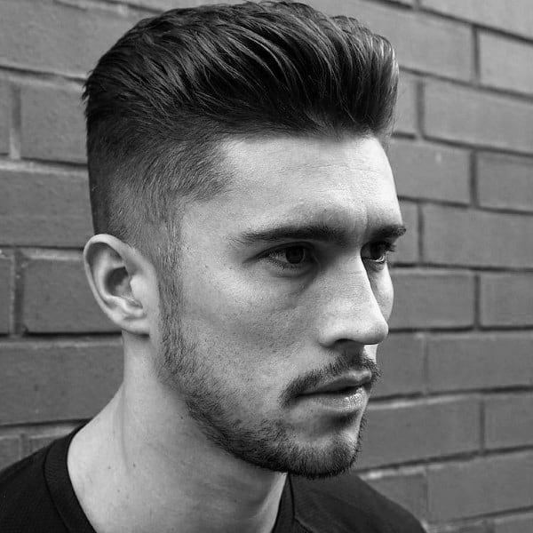 Mens Short Sides Blended Slick Back Hairstyle