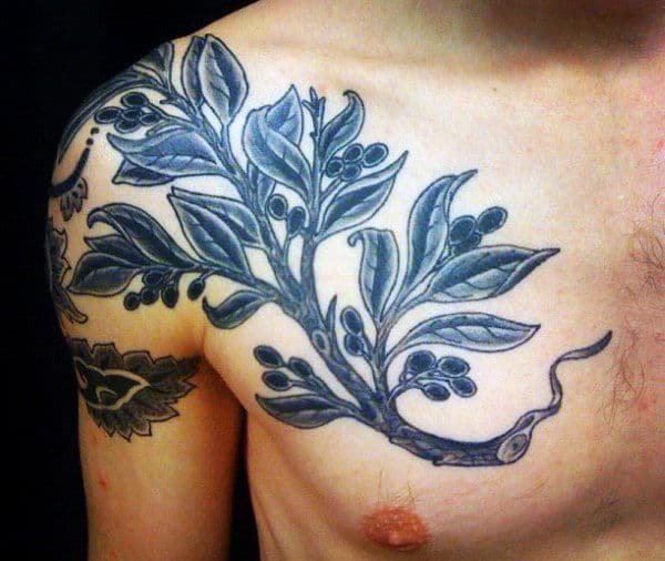 Mens Shoulder And Chest Olive Branch Tattoos