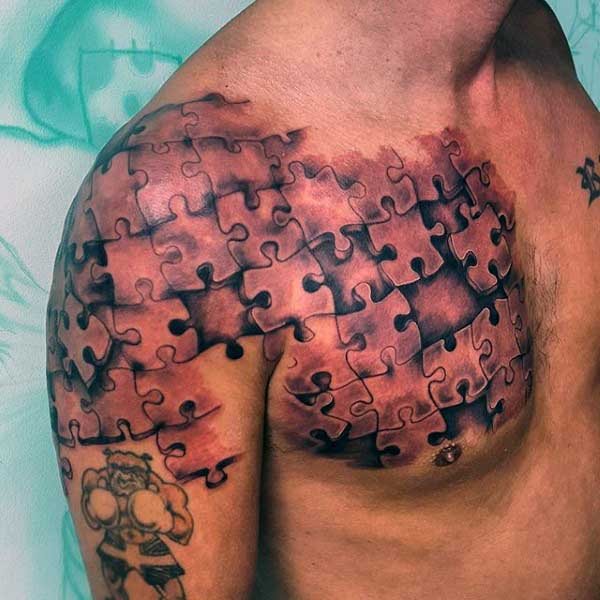 Mens Shoulder And Chest Puzzle Piece Tattoo With Shading