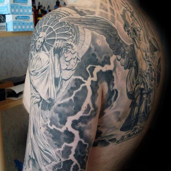 Mens Shoulder And Heaven Sleeve Tattoo With Angels