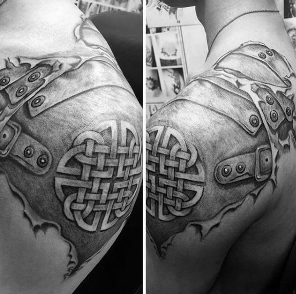 Mens Shoulder Armor Plate 3d Celtic Knot Tattoo Designs