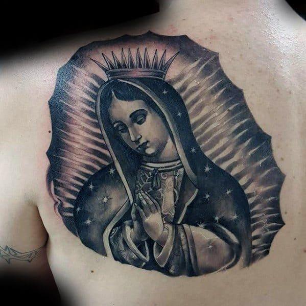 Mens Shoulder Back Guadalupe Tattoo Design Ideas