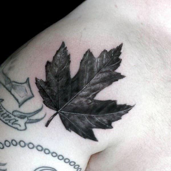 Mens Shoulder Black And Grey Maple Leaf Tattoo Design