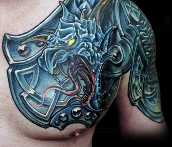Mens Shoulder Blue Dragon Armor Plate Tattoo