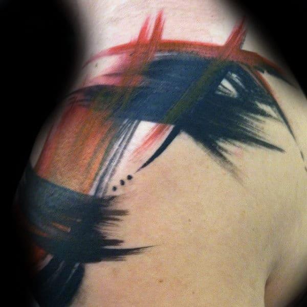 Mens Shoulder Brush Stroke Tattoos