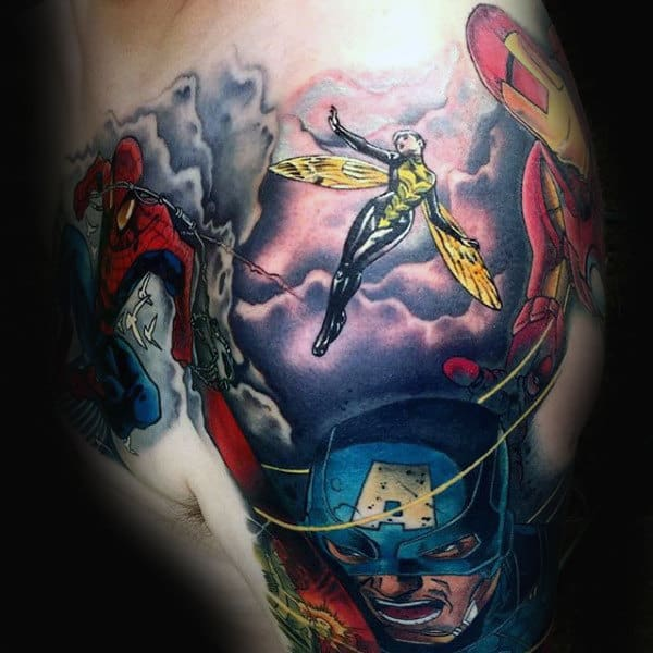 Mens Shoulder Captain America Tattoo Ideas