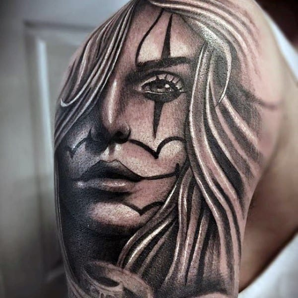 Mens Shoulder Chicano Female Portrait Tattoo