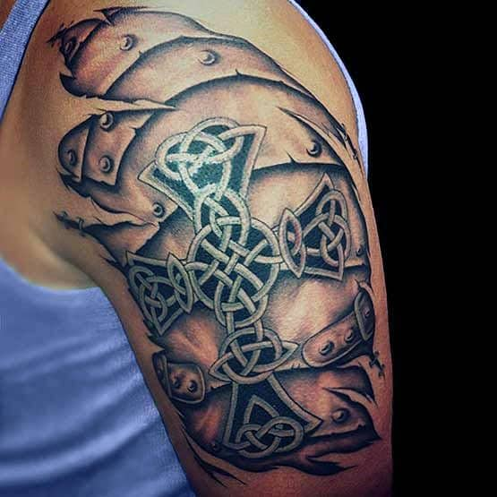 Men's Shoulder Cross Tattoo Ideas