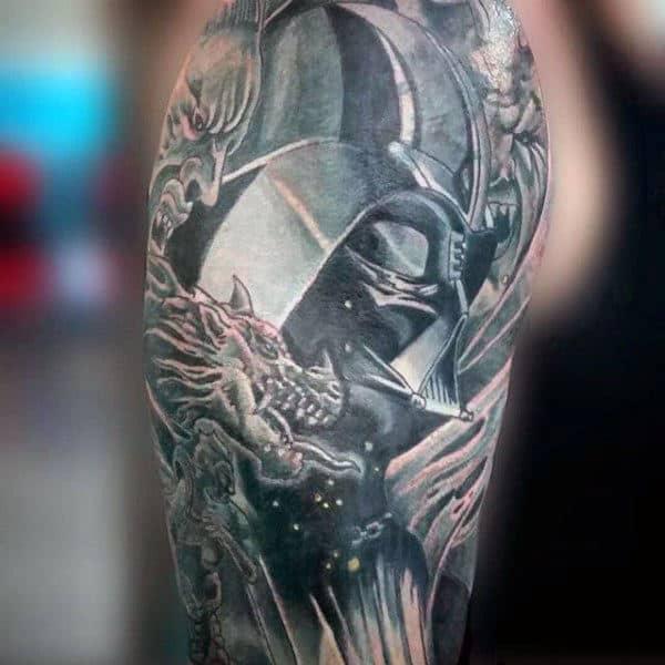 Mens Shoulder Darth Vader Tattoo