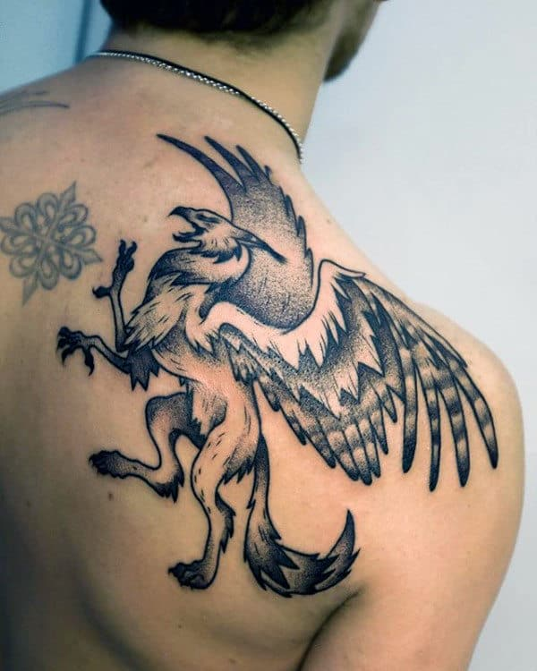 Mens Shoulder Dotwork Griffin Tattoo Ideas